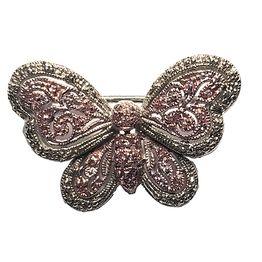 Jt Ασημένια καρφίτσα πεταλούδα με ζιργκόν