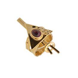 Aetoma ασημένιο δαχτυλίδι τρίγωνο με χρυσό και αμέθυστο