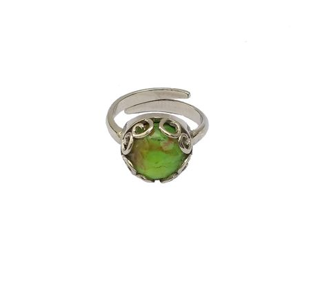 Aetoma Ασημένιο μονόπετρο δαχτυλίδι με πράσινο χαλαζία