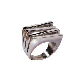 AD Εντυπωσιακό δαχτυλίδι τετραπλό ορθογώνιο ατσάλι