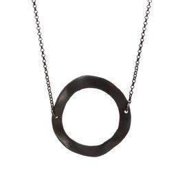 AD Ασημένιο μακρύ μαύρο κολιέ κύκλος κυματιστός