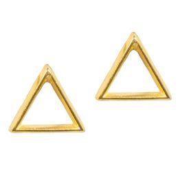 AD Ασημένια επίχρυσα καρφωτά σκουλαρίκια τρίγωνο