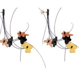 Antria Ασημένια σκουλαρίκια λουλούδια & σύννεφα αλουμίνιο