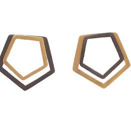 Antria Ασημένια καρφωτά σκουλαρίκια πολύγωνα 3 σε 1