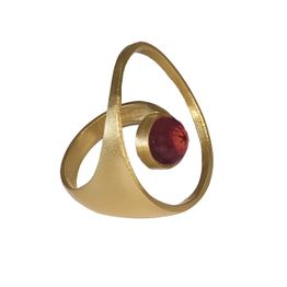Ano Ασημένιο επίχρυσο δαχτυλίδι κύκλος χαλαζίας ρουμπίνι