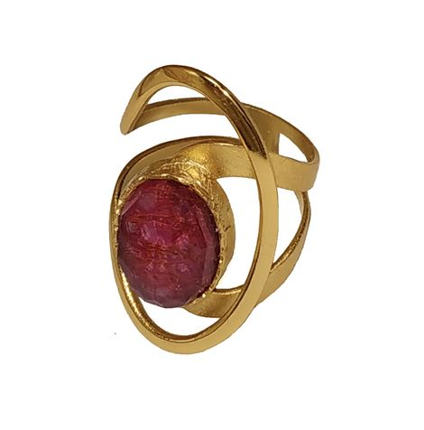 ARTE Ασημένιο δαχτυλίδι χρυσό με πέτρα χαλαζία και ρουμπίνι