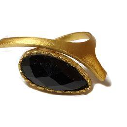 Ano Ασημένιο χρυσό δαχτυλίδι με πέτρα όνυχα