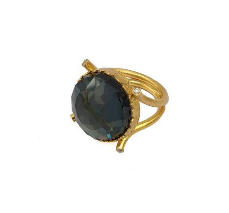 ARTE Ασημένιο δαχτυλίδι χρυσό με πέτρα σιδηροπυρίτη