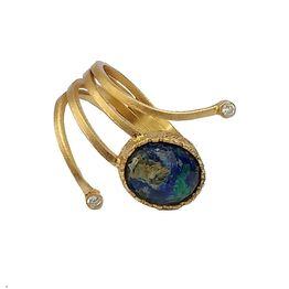 Ano Ασημένιο δαχτυλίδι χρυσό με πέτρα Αζουρομαλαχίτη