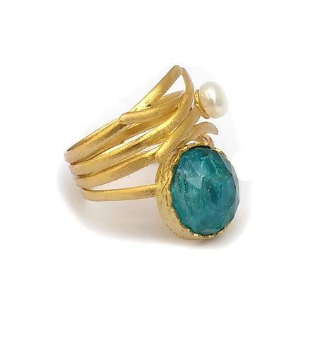 ARTE Ασημένιο δαχτυλίδι χρυσό με μαργαριτάρι και απατίτη