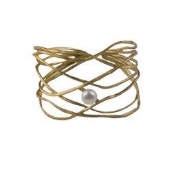 ARTE Ασημένιο χρυσό φαρδύ βραχιόλι χειροπέδα με μαργαριτάρι