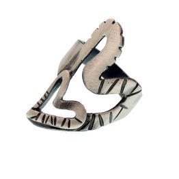 Efstathia Εντυπωσιακό ασημένιο δαχτυλίδι διπλή καρδιά