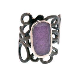 Efstathia Ασημένιο δαχτυλίδι με μωβ στικτίτη και χαλαζία