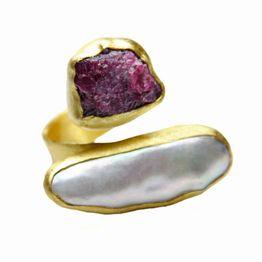 Efstathia Επίχρυσο ασημένιο δαχτυλίδι με ρουμπίνι & μαργαριτάρι