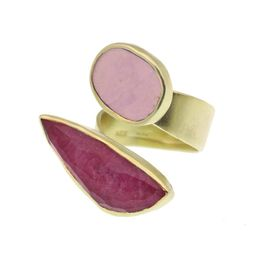 Efstathia Ασημένιο δαχτυλίδι με ρουμπίνι, χαλαζία και φωσφορσίτη