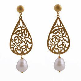 Efstathia Ασημένια χρυσά σκουλαρίκια δάκρυ με μαργαριτάρι