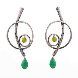 Efstathia Ασημένια μακριά σκουλαρίκια κλειδί του σολ με ζαντ