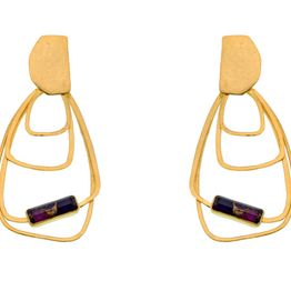 Efstathia Ασημένια σκουλαρίκια χαλαζίας με φούξια μωσαϊκό