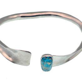Efstathia Ασημένιο βραχιόλι χειροπέδα με πέτρα τυρκουάζ, χαλαζία