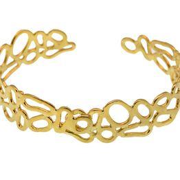 Efstathia Ασημένιο χρυσό βραχιόλι χειροπέδα τρυπητό