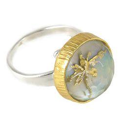 Joy Ασημένιο δαχτυλίδι με χαλαζία και χρυσό αγιογραφίας