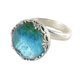 Joy Ασημένιο δαχτυλίδι με χαλαζία και μπλέ σμάλτο.