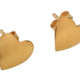 Jt Σκουλαρίκια καρδιές από επιχρυσωμένο ασήμι