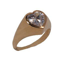 Jt Ασημένιο μονόπετρο χρυσό δαχτυλίδι καρδιά λευκό ζιργκόν