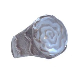 Cosmochaos Ασημένιο δαχτυλίδι σπείρα με χαλαζία
