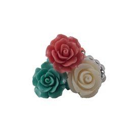 Jt Ασημένια δαχτυλίδια άσπρο, κοραλί και τιρκουάζ τριαντάφυλλο