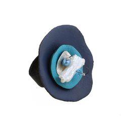 Jt Ασημένιο δαχτυλίδι με μπλε δερμάτινους κύκλους και Swarovski