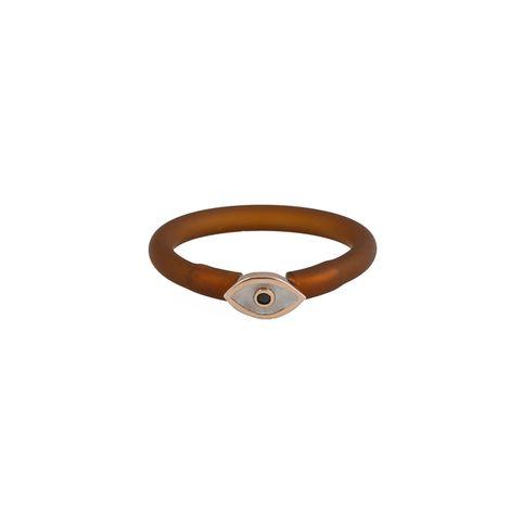 Jt Ασημένιο δαχτυλίδι μάτι με σμάλτο και καφέ καουτσούκ