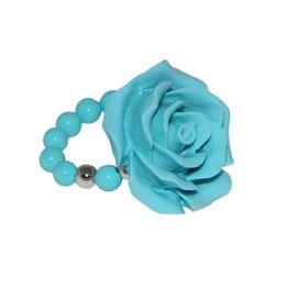 Jt Ασημένιο δαχτυλίδι γαλάζιο τριαντάφυλλο με τιρκουάζ