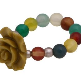 Jt Ασημένιο δαχτυλίδι χρυσαφί τριαντάφυλλο με πολύχρωμους αχάτες