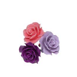 Jt Ασημένια δαχτυλίδια μωβ και ροζ τριαντάφυλλο με πέτρες