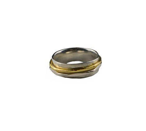 Jt Ασημένιο σφυρήλατο δαχτυλίδι με δύο βέρες