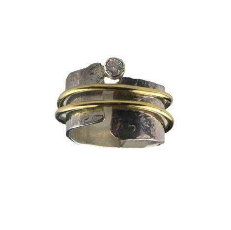 Jt Ασημένιο σφυρήλατο δαχτυλίδι με δύο βέρες και ζιργκόν
