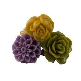 Jt Ασημένια δαχτυλίδια μωβ, πράσινο και κίτρινο τριαντάφυλλο