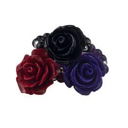Jt Ασημένια δαχτυλίδια μωβ, κόκκινο και μαύρο τριαντάφυλλο