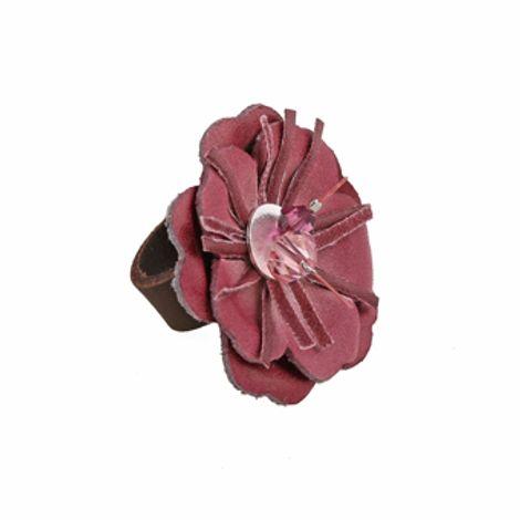 Jt Ασημένιο δερμάτινο δαχτυλίδι μπορντό λουλούδι και Swarovski