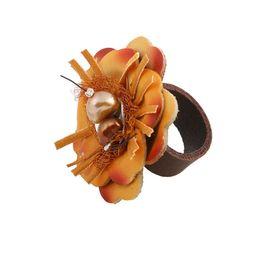 Jt Ασημένιο δερμάτινο δαχτυλίδι λουλούδι πορτοκαλί