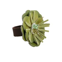 Jt Ασημένιο δαχτυλίδι με πράσινο δερμάτινο λουλούδι και Swarovski
