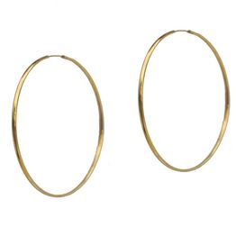 Jt Ασημένια σκουλαρίκια κρίκοι χρυσοί πολύ λεπτοί 6 cm