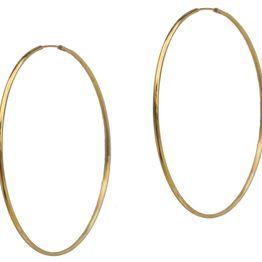 Jt Ασημένια σκουλαρίκια κρίκοι χρυσοί μεγάλοι πολύ λεπτοί 7cm