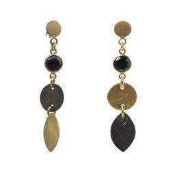 Jt Ασημένια σκουλαρίκια μαύρο και χρυσό με ζιργκόν