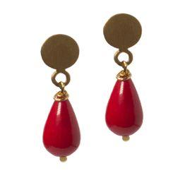 Jt Ασημένια χρυσά καρφωτά σκουλαρίκια κόκκινο κοράλλι