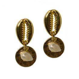 Jt Κρεμαστά σκουλαρίκια χρυσά κοχύλια μαργαριτάρι μπρούτζος