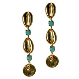 Jt Κρεμαστά χρυσά σκουλαρίκια με κοχύλια από μπρούτζο