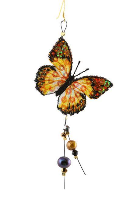 Jt Ασημένιο μονό σκουλαρίκι πεταλούδα με μαργαριτάρια