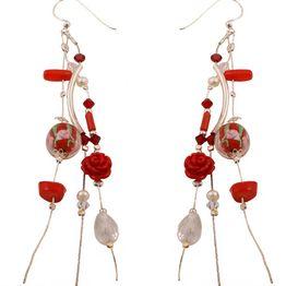 Jt Ασημένια σκουλαρίκια κόκκινα λουλούδια, πέτρες & αλυσίδες